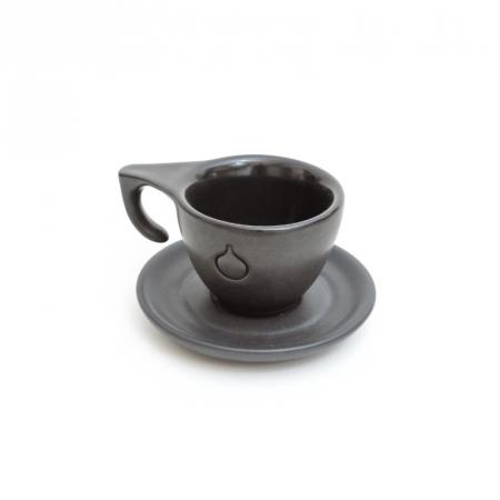 Set Ceasca si Farfurie Espresso Dropshot Negru Mat [1]