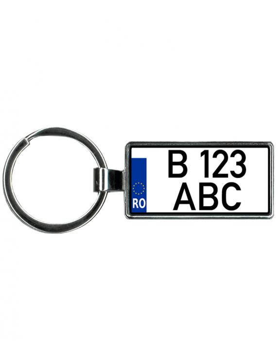 Breloc auto metalic personalizat cu numar pentru motociclete sau auto, argintiu, 4×2 cm 0