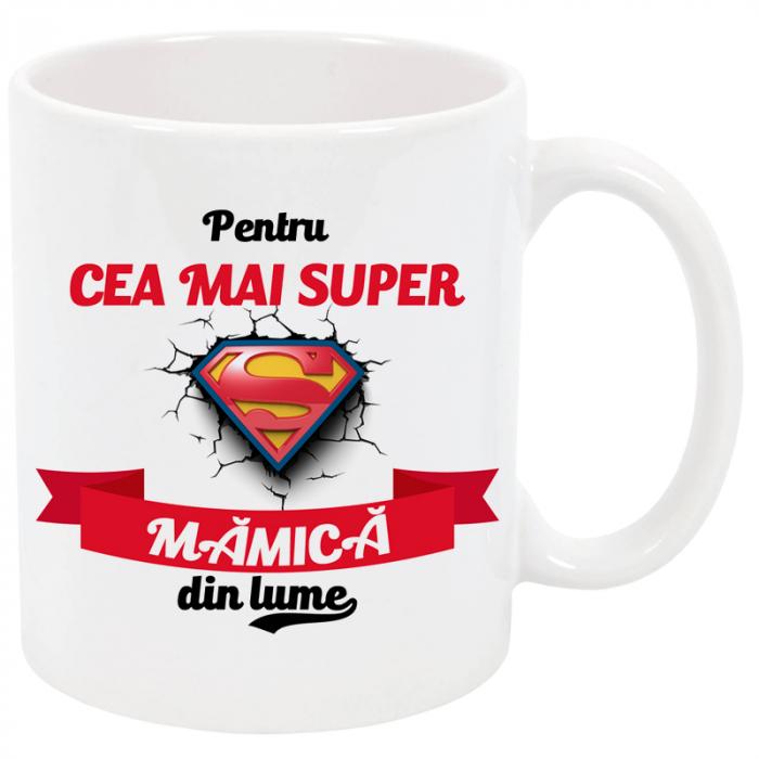"""Cana personalizata """"Cea mai super mamica din lume"""", ceramica alba, 325 ml 0"""