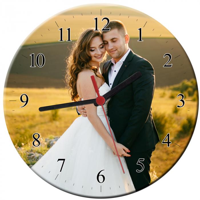 Ceas personalizat din sticla rotund, model cu o poza, diametru 20 cm 0