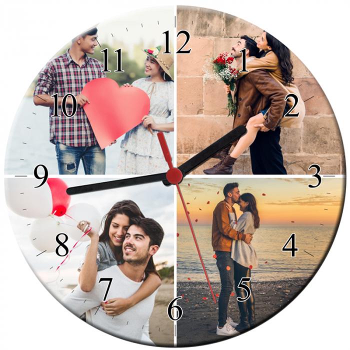 Ceas personalizat din sticla, model cu 4 poze, diametru 20 cm 0