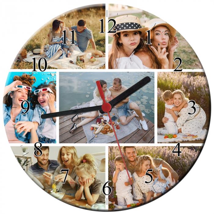Ceas personalizat din sticla rotund, model cu 7 poze, diametru 20 cm 0