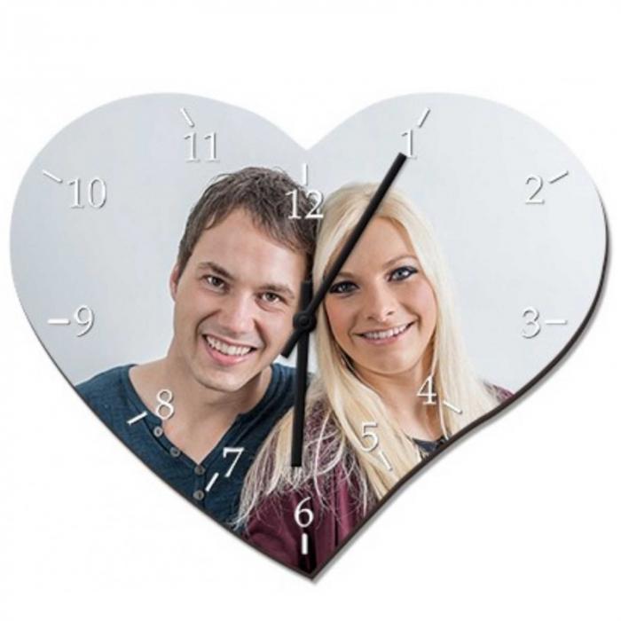 Ceas personalizat din sticla, forma inima, model cu o poza, 18x24,5 cm 0
