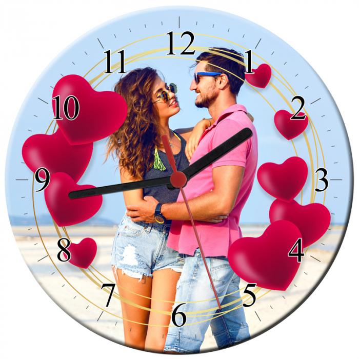 Ceas personalizat din sticla rotund, model inimi cu o poza, diametru 20 cm 0