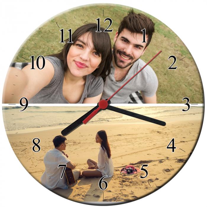 Ceas personalizat din sticla, model cu 2 poze, diametru 20 cm 0