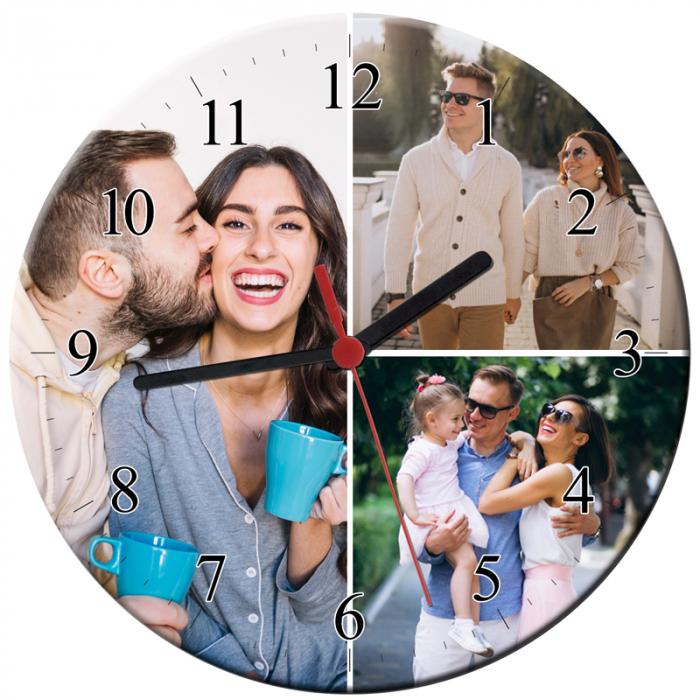 Ceas personalizat din sticla, model cu 3 poze, diametru 20 cm 0