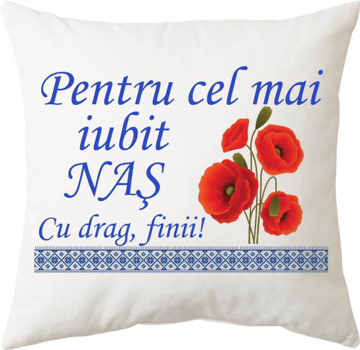 """Perna personalizata patrata alba, model """"Pentru cel mai iubit naş"""", poliester, 40×40 cm 0"""