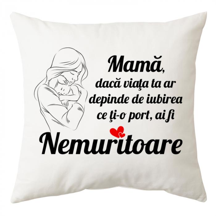 """Perna personalizata patrata alba, model """"Mama Nemuritoare"""", poliester, 40×40 cm 0"""