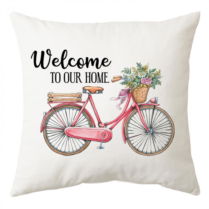 "Perna patrata alba, model ""Welcome to our home"", poliester, 40×40 cm 0"