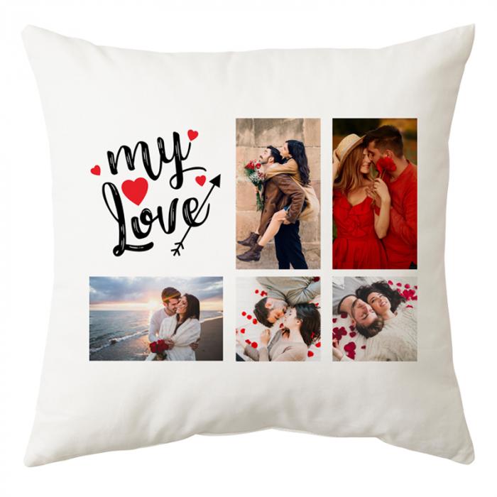 Perna personalizata patrata alba My Love cu 5 poze 0