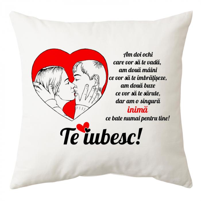 Perna personalizata patrata alba, Valentine's Day, poliester, 40×40 cm 0