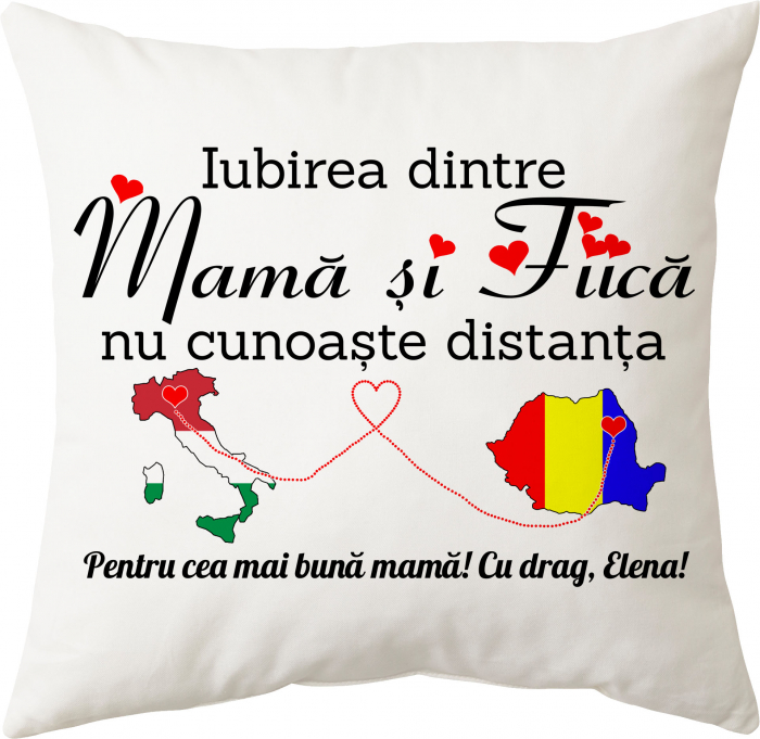 """Perna personalizata patrata alba, model """"Iubirea dintre mama si fiica nu cunoaste distanta"""", poliester, 40×40 cm 0"""