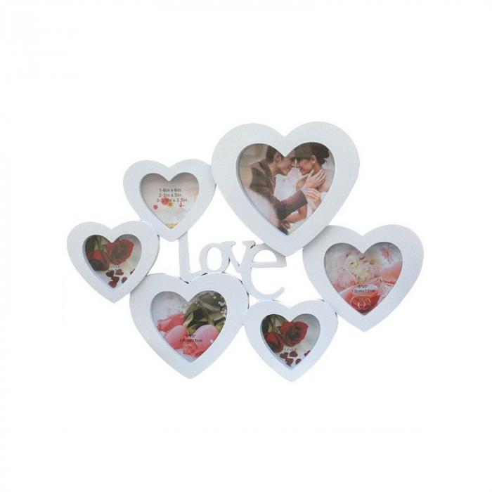 Rama colaj inimioare, 6 poze, 45x36 cm, fotografii incluse 0