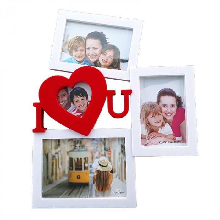 Rama foto colaj 3 poze - I Love You, 32x40 cm, fotografii incluse 0
