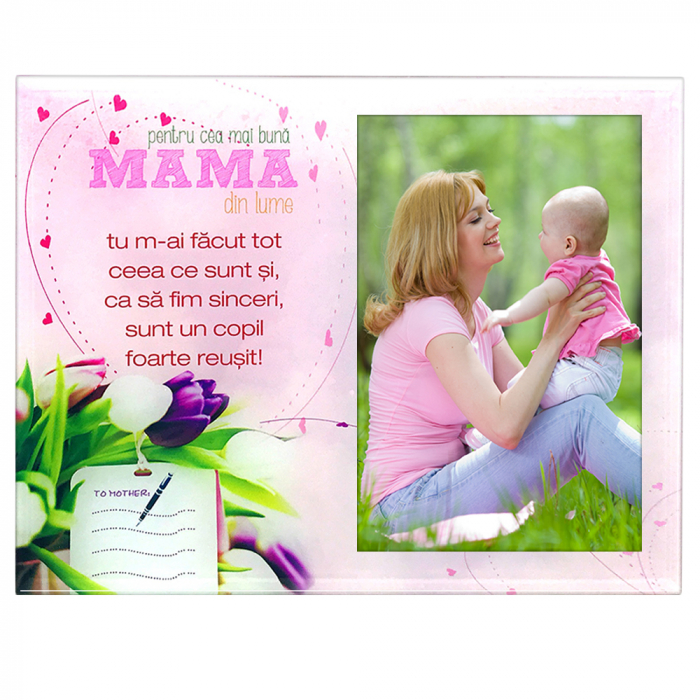 Rama foto din sticla cu mesaj, 22x17 cm, model Mama #4 0
