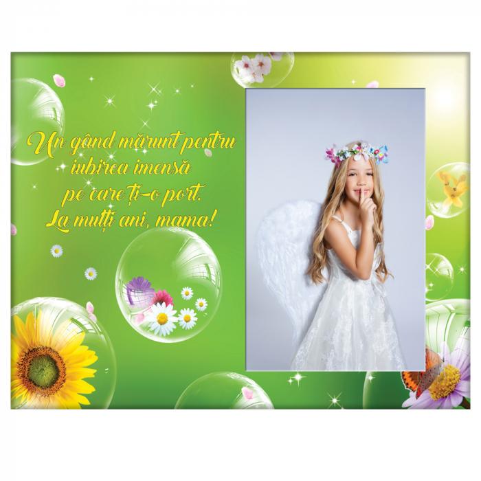Rama foto din sticla cu mesaj, 22x17 cm, model Mama #3 0