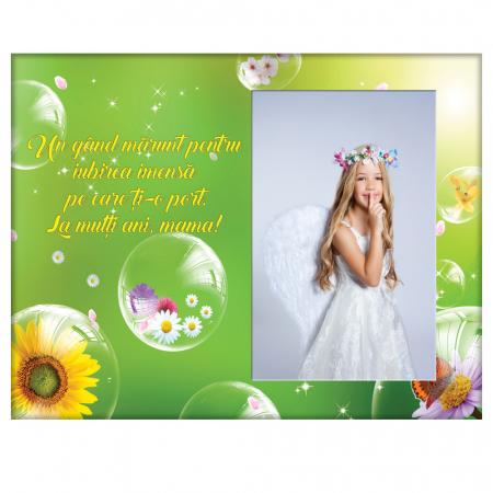 Rama foto din sticla cu mesaj, 22x17 cm, model Mama #30