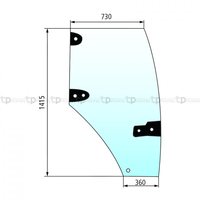 Geam ușă (dreapta) Case IH [0]
