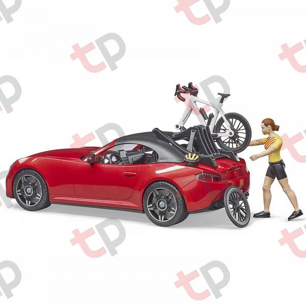 Jucărie - Mașină roșie Roadster cu o bicicletă de curse și biciclistă 2020 [1]
