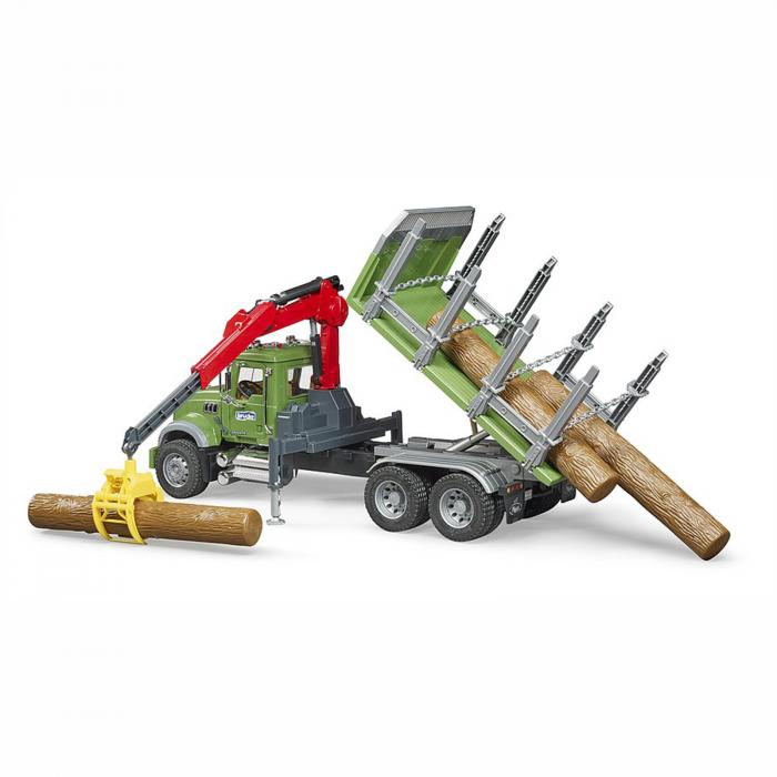 Camion Mack Granite cu remorcă de transport lemne, macara și 3 bușteni [4]