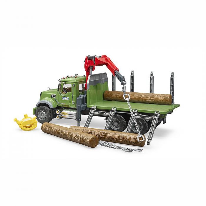 Camion Mack Granite cu remorcă de transport lemne, macara și 3 bușteni [3]
