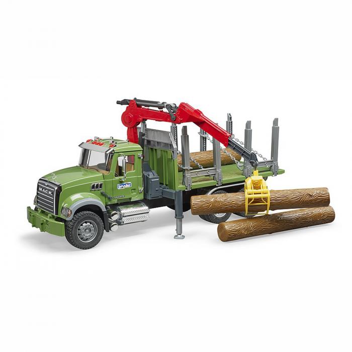 Camion Mack Granite cu remorcă de transport lemne, macara și 3 bușteni [0]