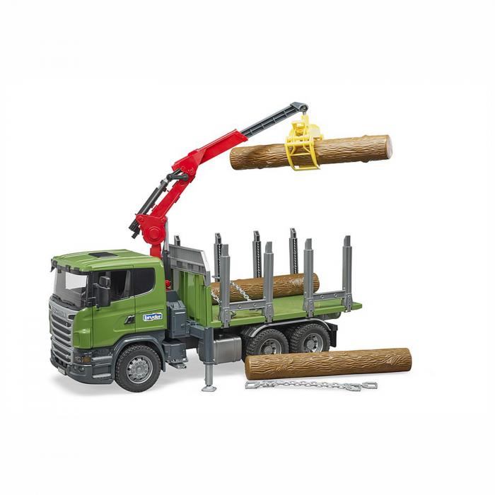 Camion Scania seria R cu remorcă de transport lemne, macara și 3 bușteni [2]