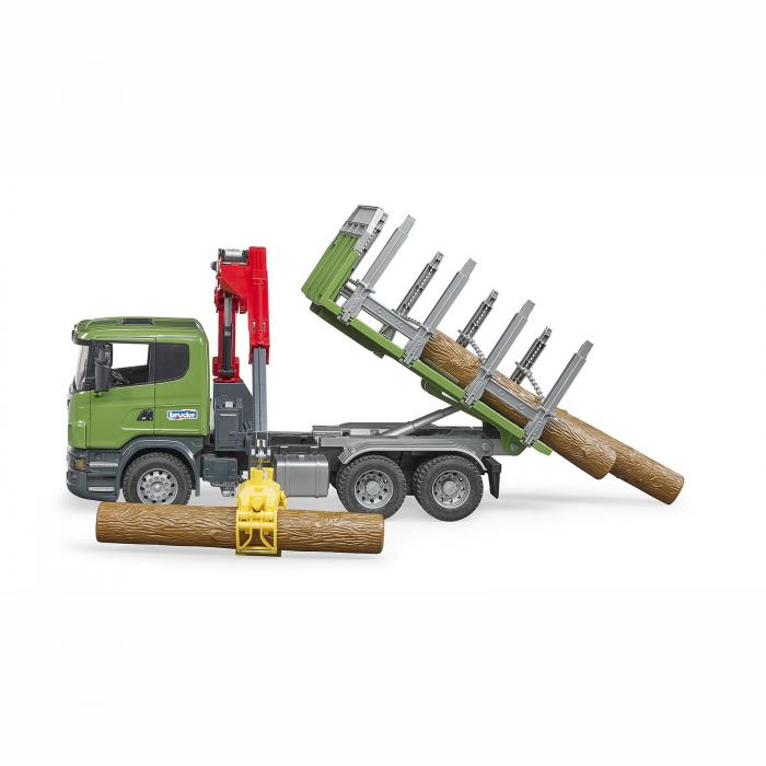 Camion Scania seria R cu remorcă de transport lemne, macara și 3 bușteni [3]