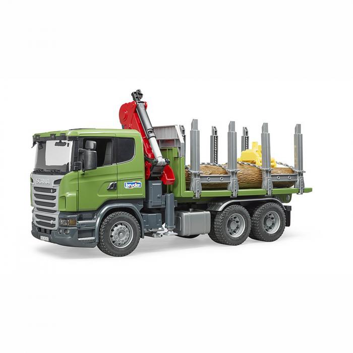 Camion Scania seria R cu remorcă de transport lemne, macara și 3 bușteni [0]