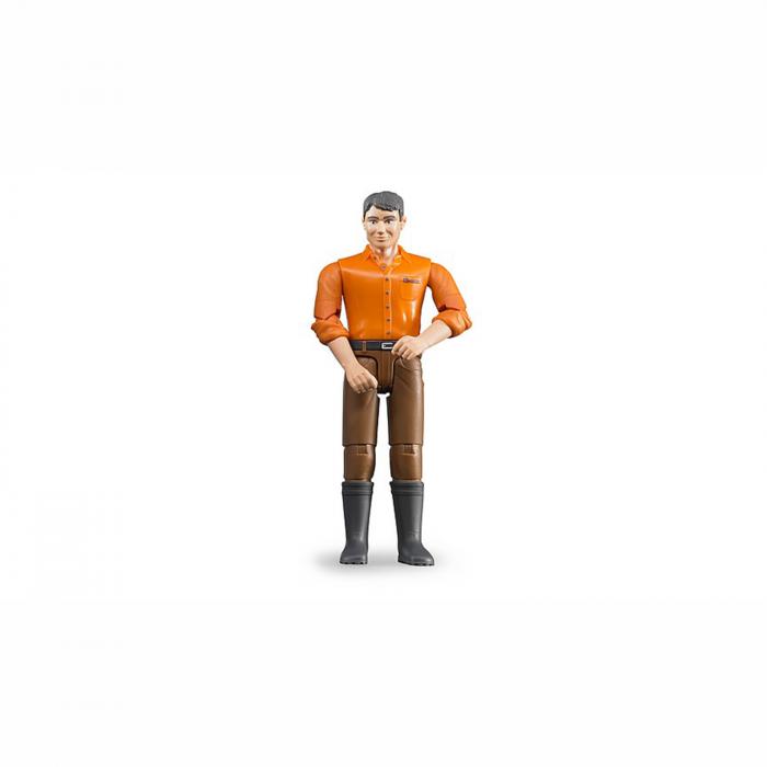 Jucărie - bărbat cu cămașă portocalie și blugi maro [0]