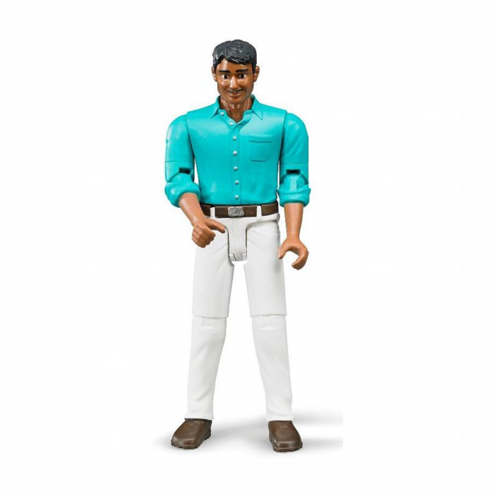 Jucărie - Figurină bărbat cu cămașă turcoaz și blugi albi [0]