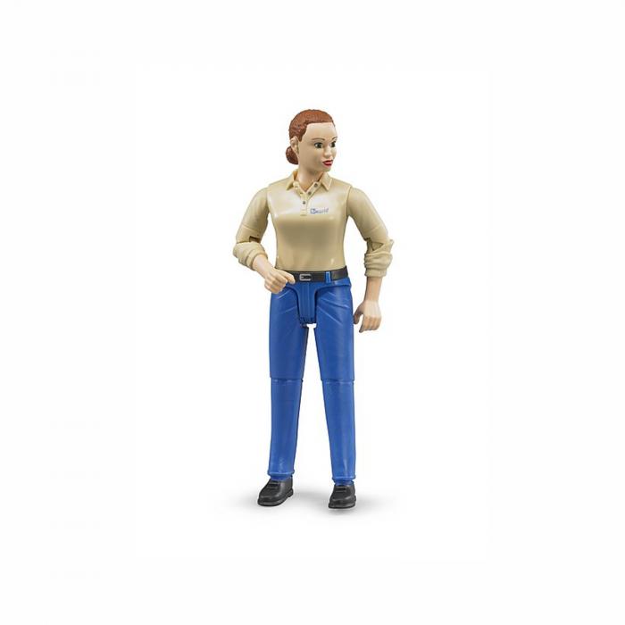 Jucărie - femeie cu cămașă bej și blugi albaștri [0]