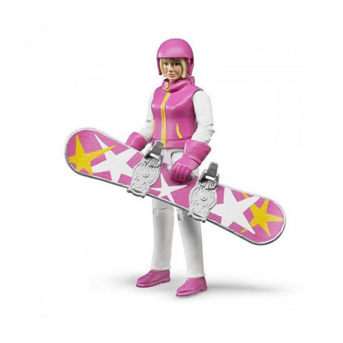 Jucărie - Figurină femeie snowboarder cu accesorii [0]