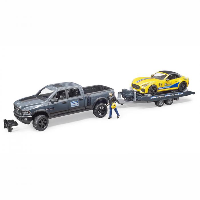 Jucărie - Mașină de teren cu benă Dodge RAM 2500, platformă, mașină Roadster și figurină [1]