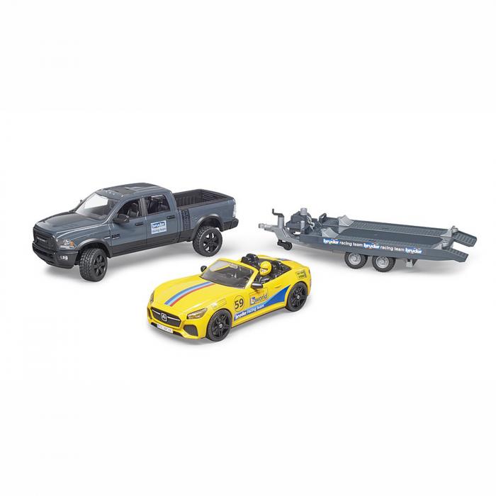 Jucărie - Mașină de teren cu benă Dodge RAM 2500, platformă, mașină Roadster și figurină [2]