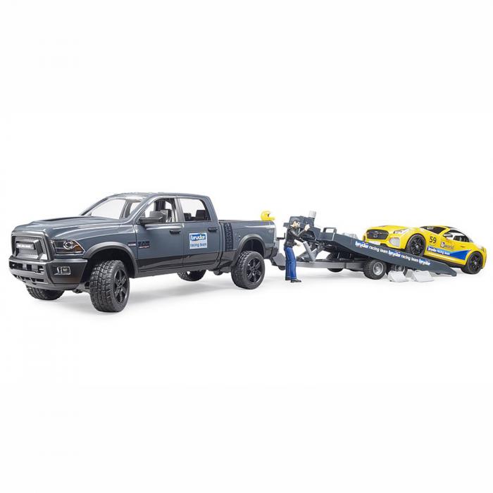 Jucărie - Mașină de teren cu benă Dodge RAM 2500, platformă, mașină Roadster și figurină [3]