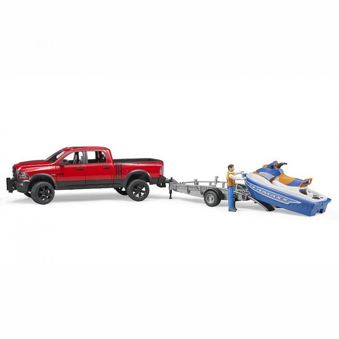 Jucărie - Mașină de teren cu benă RAM 2500 Power cu remorcă, jet ski și figurină bărbat [2]