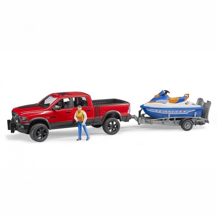Jucărie - Mașină de teren cu benă RAM 2500 Power cu remorcă, jet ski și figurină bărbat [0]