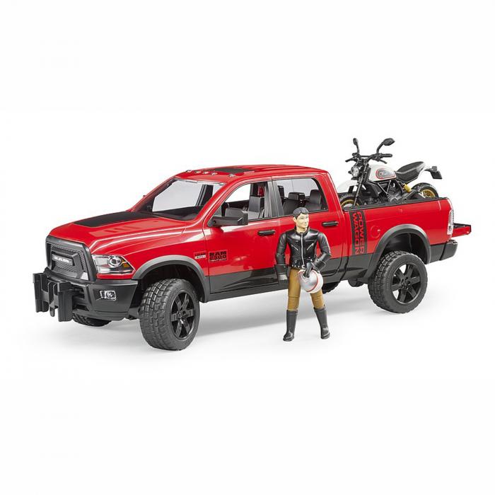 Jucărie - Mașină de teren cu benă RAM 2500 Power Wagon, motocicletă Ducati și figurină [0]