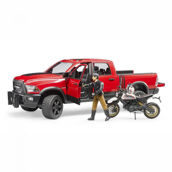 Jucărie - Mașină de teren cu benă RAM 2500 Power Wagon, motocicletă Ducati și figurină [3]