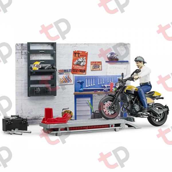 Set atelier de service cu motociclete Ducati ,figurină mecanic și accesorii 2020 [1]