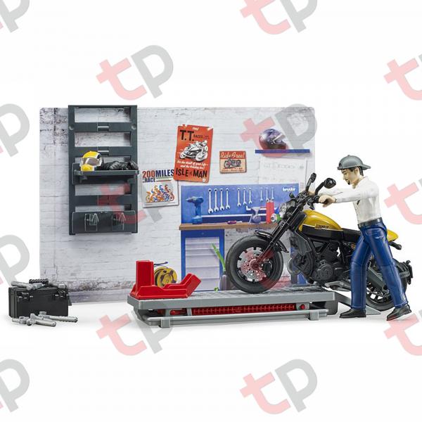 Set atelier de service cu motociclete Ducati ,figurină mecanic și accesorii 2020 [4]