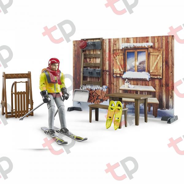 Jucarie - Set cabana cu figurina barbat, snowmobil si accesorii [2]
