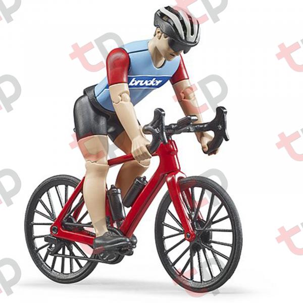 Jucărie - Bicicletă roșie de curse cu biciclist [2]