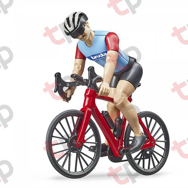 Jucărie - Bicicletă roșie de curse cu biciclist [0]