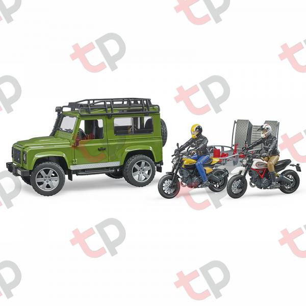 Jucărie - Set mașină de teren Land Rover Defender cu remorcă, motocicletă Ducati și figurină - 2020 [4]