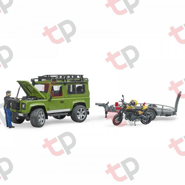 Jucărie - Set mașină de teren Land Rover Defender cu remorcă, motocicletă Ducati și figurină - 2020 [1]