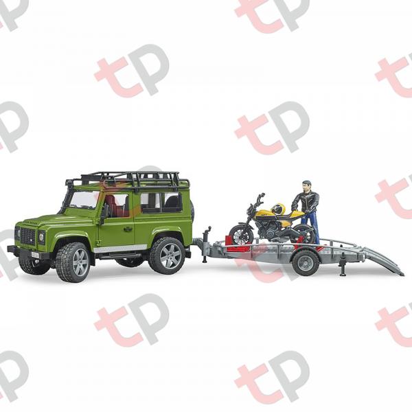 Jucărie - Set mașină de teren Land Rover Defender cu remorcă, motocicletă Ducati și figurină - 2020 [2]