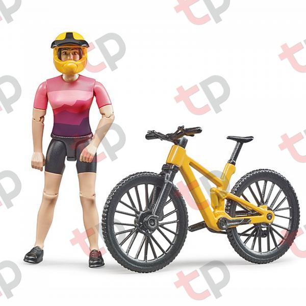 Jucărie - Bicicletă galbena de curse cu biciclistă [1]