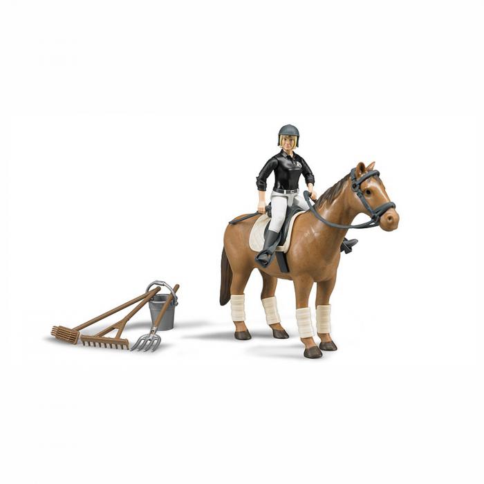 Jucărie - Set figurină femeie jocheu și cal cu accesorii [0]